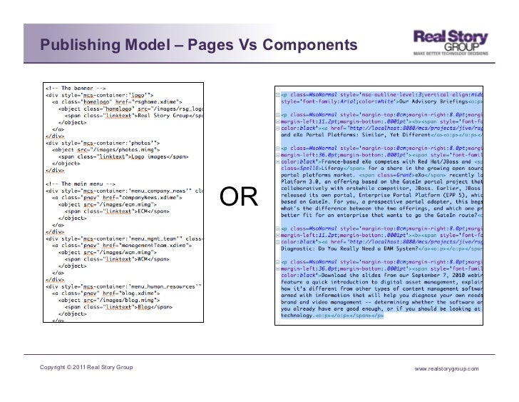 Publishing Model – Pages Vs Components                                    ORCopyright © 2011 Real Story Group        www.r...