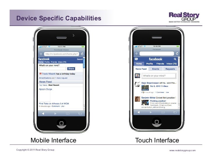 Device Specific Capabilities            Mobile Interface        Touch InterfaceCopyright © 2011 Real Story Group          ...