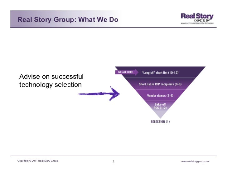 Real Story Group: What We Do Advise on successful technology selectionCopyright © 2011 Real Story Group   3   www.realstor...