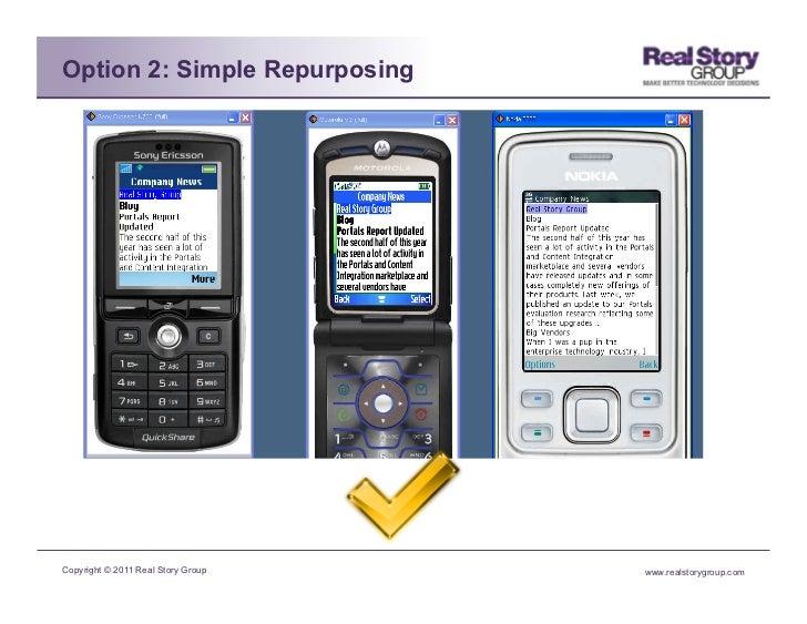 Option 2: Simple RepurposingCopyright © 2011 Real Story Group   www.realstorygroup.com