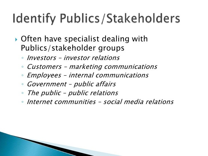 Often have specialist dealing with Publics/stakeholder groups<br />Investors – investor relations <br />Customers – market...