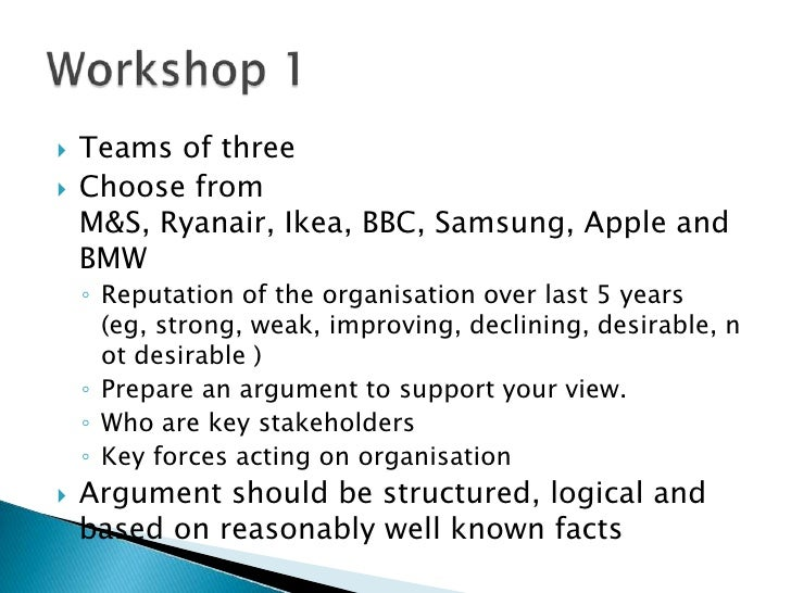 Teams of three<br />Choose from M&S, Ryanair, Ikea, BBC, Samsung, Apple and BMW <br />Reputation of the organisation over...
