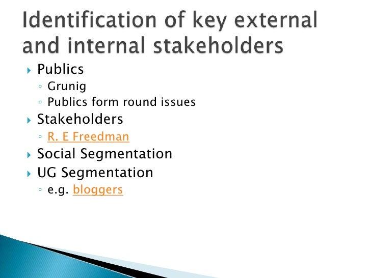Publics<br />Grunig<br />Publics form round issues<br />Stakeholders<br />R. E Freedman <br />Social Segmentation<br />UG ...
