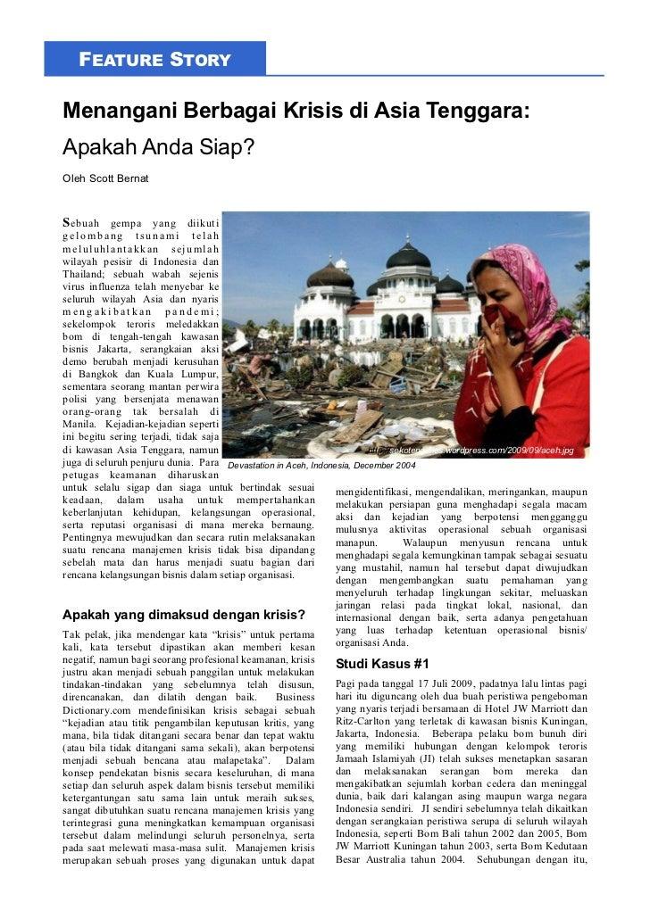 FEATURE STORYMenangani Berbagai Krisis di Asia Tenggara:Apakah Anda Siap?Oleh Scott BernatS ebuah gempa yang diikutigelomb...