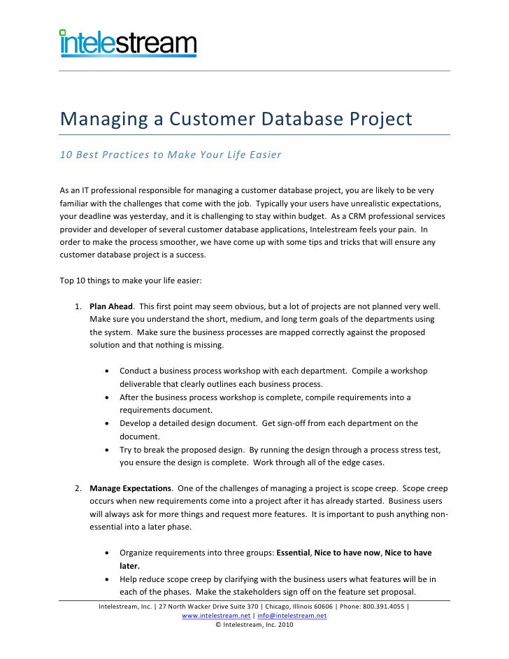 Managing a Customer Database Project 10 Best Practices to Make Your Life Easier  As an IT professional responsible for man...