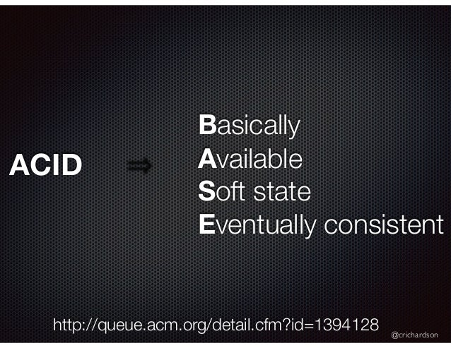 @crichardson Basically Available Soft state Eventually consistent http://queue.acm.org/detail.cfm?id=1394128 ACID