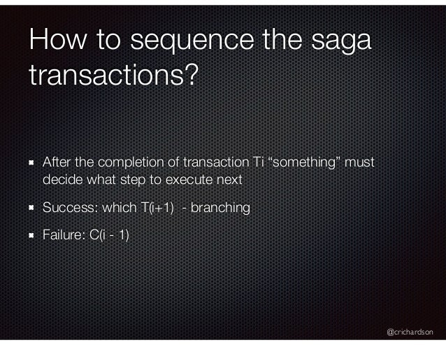 """@crichardson How to sequence the saga transactions? After the completion of transaction Ti """"something"""" must decide what st..."""