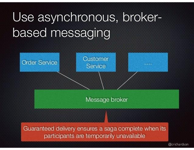 @crichardson Use asynchronous, broker- based messaging Order Service Customer Service …. Message broker Guaranteed deliver...