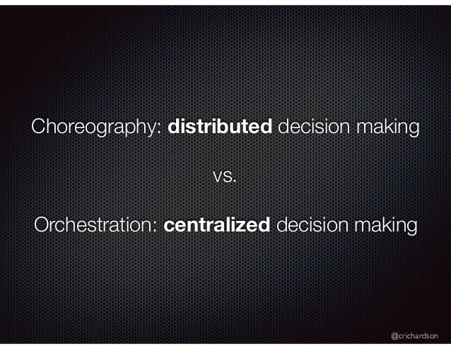@crichardson Choreography: distributed decision making vs. Orchestration: centralized decision making