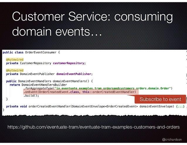 @crichardson Customer Service: consuming domain events… https://github.com/eventuate-tram/eventuate-tram-examples-customer...