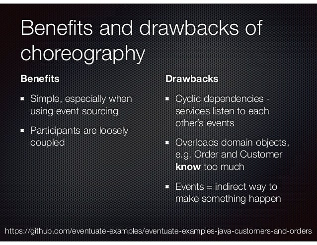 Benefits and drawbacks of choreography Benefits Simple, especially when using event sourcing Participants are loosely couple...
