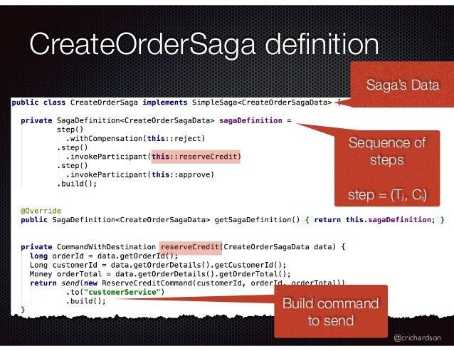 @crichardson CreateOrderSaga definition Sequence of steps step = (Ti, Ci) Build command to send Saga's Data