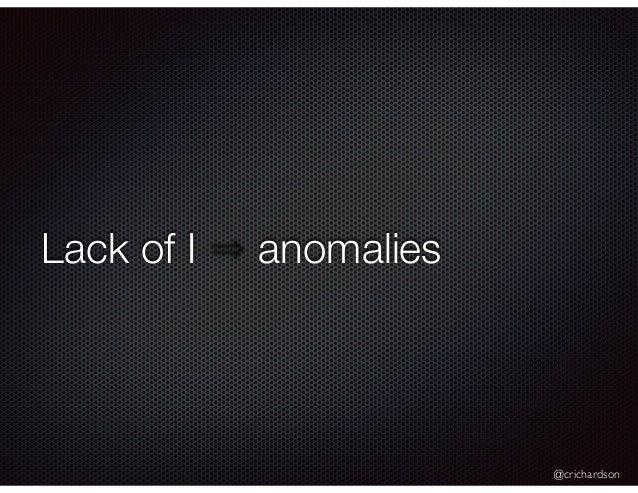 @crichardson Lack of I anomalies