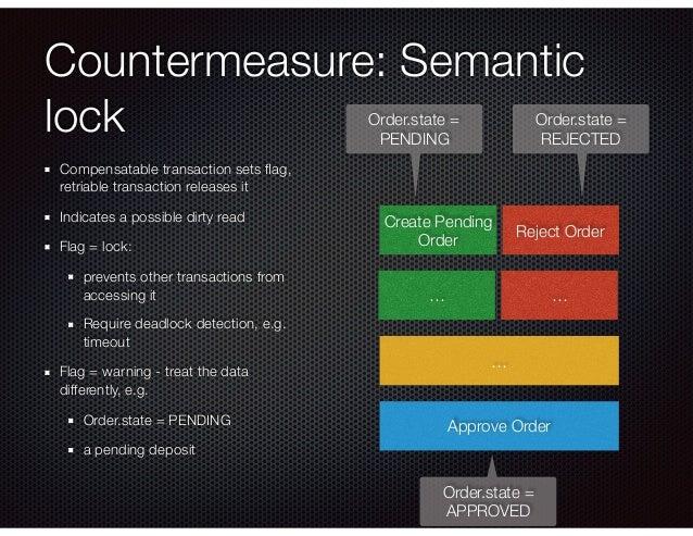Countermeasure: Semantic lock Compensatable transaction sets flag, retriable transaction releases it Indicates a possible d...
