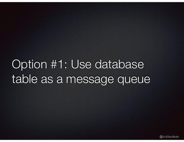 @crichardson Option #1: Use database table as a message queue