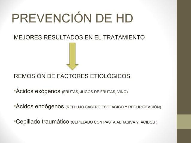 PREVENCIÓN DE HDMEJORES RESULTADOS EN EL TRATAMIENTOREMOSIÓN DE FACTORES ETIOLÓGICOS•Ácidos exógenos (FRUTAS, JUGOS DE FRU...