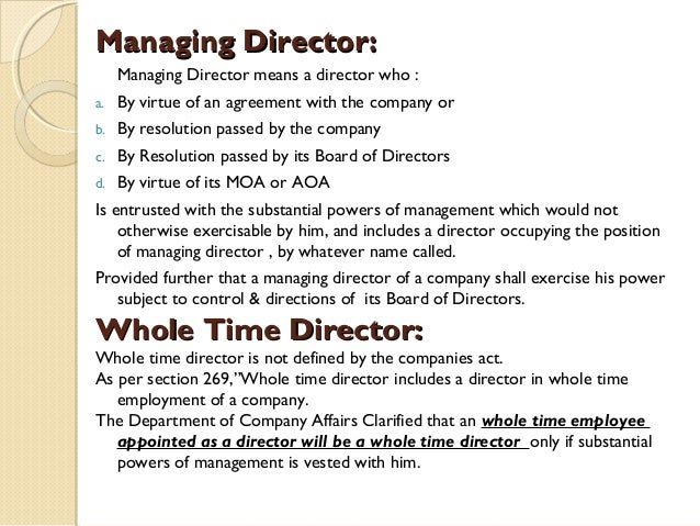 managing director Managing director job description - read this article along with other careers information, tips and advice on telegraph jobs.