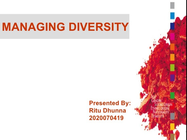MANAGING DIVERSITY Presented By: Ritu Dhunna 2020070419 Presented By: Ritu Dhunna 2020070419