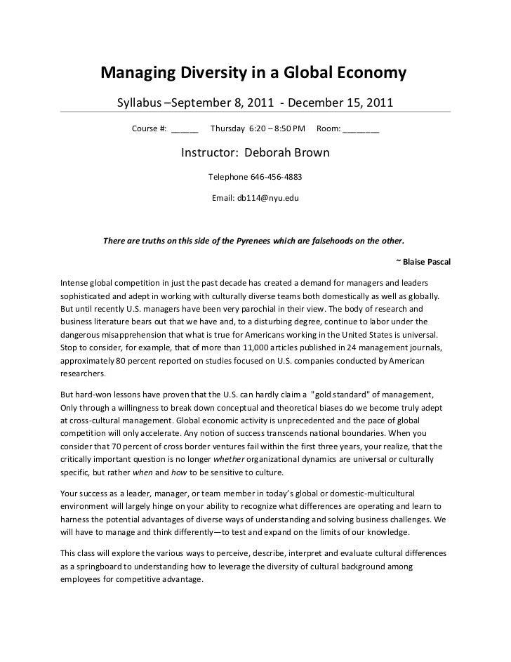 Managing Diversity in a Global Economy                Syllabus –September 8, 2011 - December 15, 2011                    C...