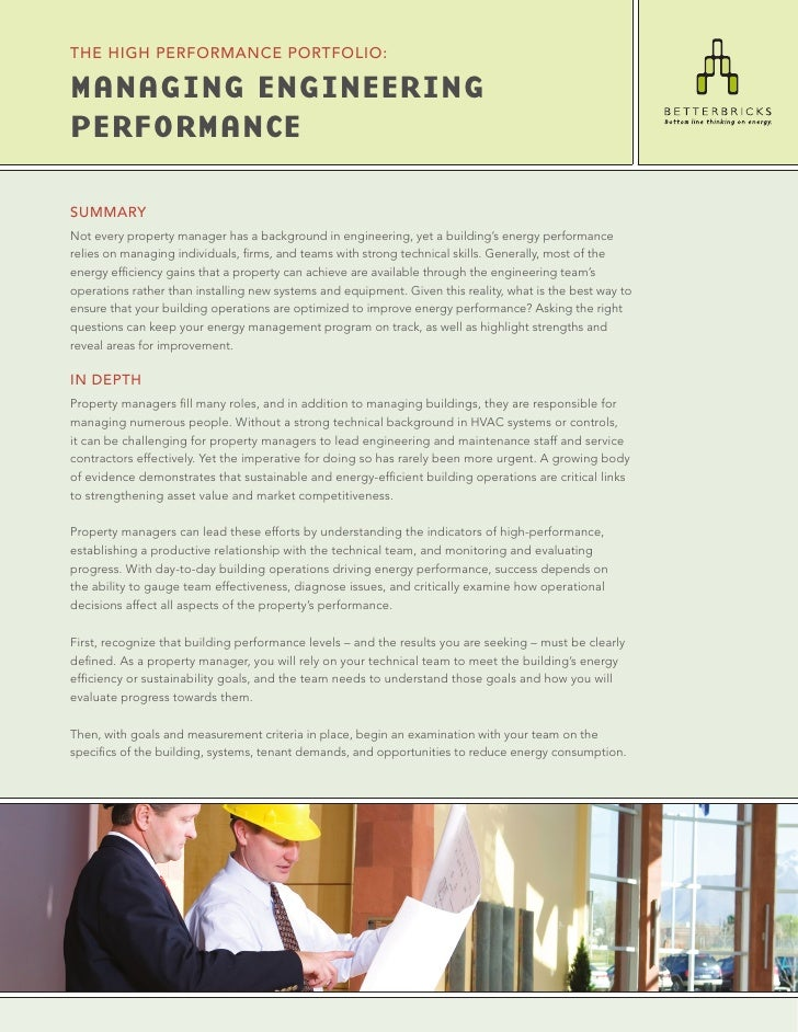 THE HIgH PERfoRMANcE PoRTfolIo:  Managing EnginEEring PErforMancE  SUMMARY Not every property manager has a background in ...