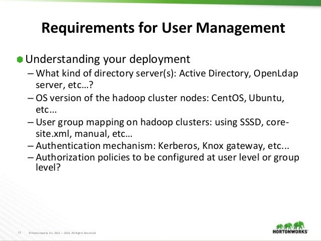 Managing enterprise users in Hadoop ecosystem