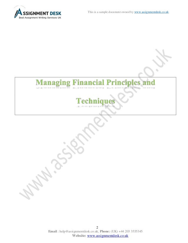 managing financial principles and techniques