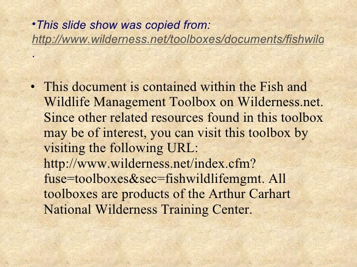<ul><li>This document is contained within the Fish and Wildlife Management Toolbox on Wilderness.net. Since other related ...