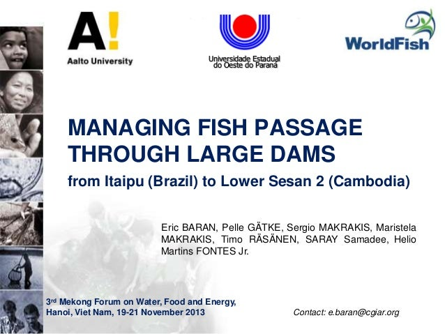 people  science  environment  partners  Universidade Estadual do Oeste do Paraná  MANAGING FISH PASSAGE THROUGH LARGE D...