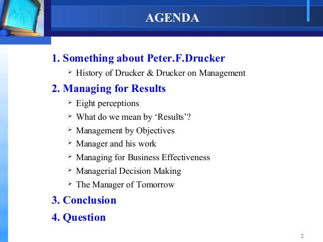 managing for results drucker pdf
