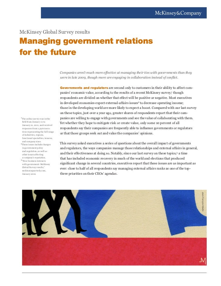 McKinsey Global Survey resultsManaging government relationsfor the future                                       Companies ...