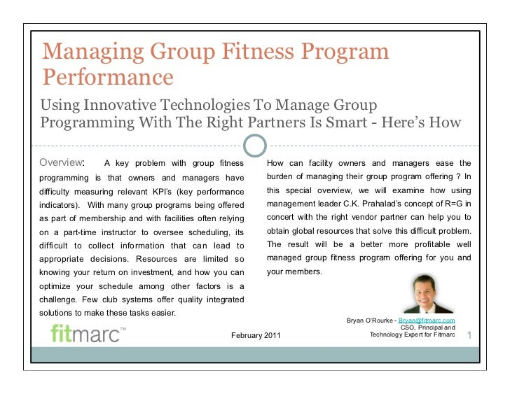 Managing Group Fitness ProgramPerformanceUsing Innovative Technologies To Manage GroupProgramming With The Right Partners ...