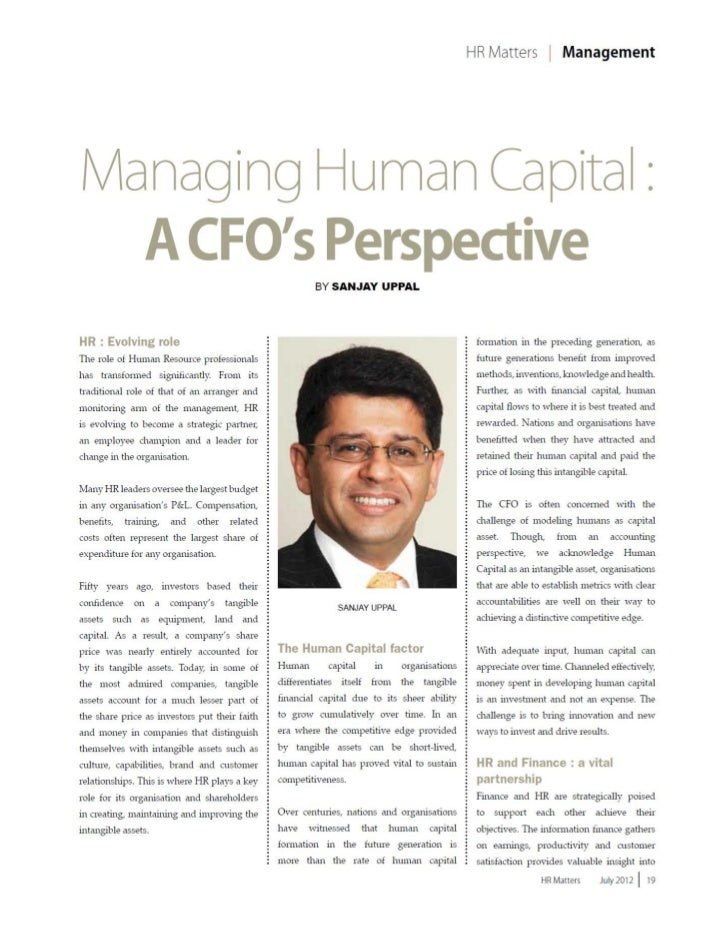 Managing Human Capital : A CFO's Perspective