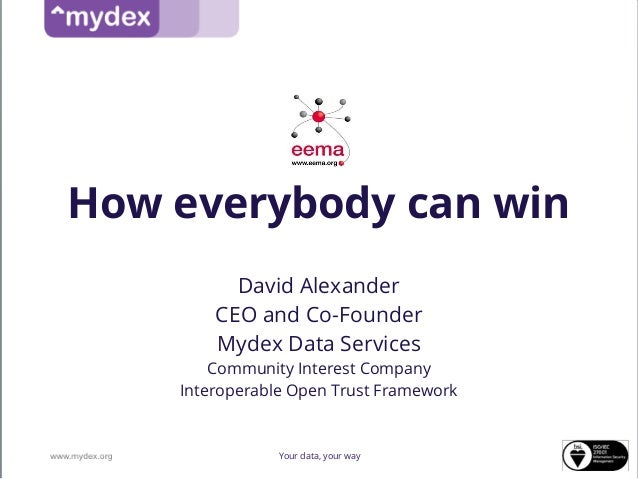 How everybody can winDavid AlexanderCEO and Co-FounderMydex Data ServicesCommunity Interest CompanyInteroperable Open Trus...