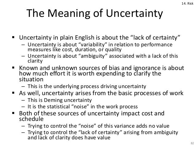meaning of risk and uncertainty This article introduces the concepts of risk and uncertainty together with the use of the risks of uncertainty the basic definition of risk is that.