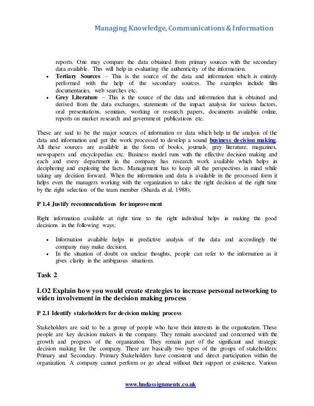 Managing knowledge,communication,information essay