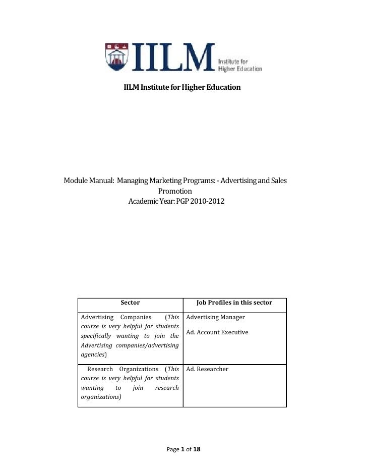 IILM Institute for Higher EducationModule Manual: Managing Marketing Programs: - Advertising and Sales                    ...
