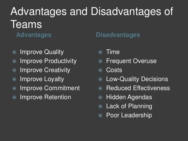 advantages and disadvantages of teamwork in an organization pdf