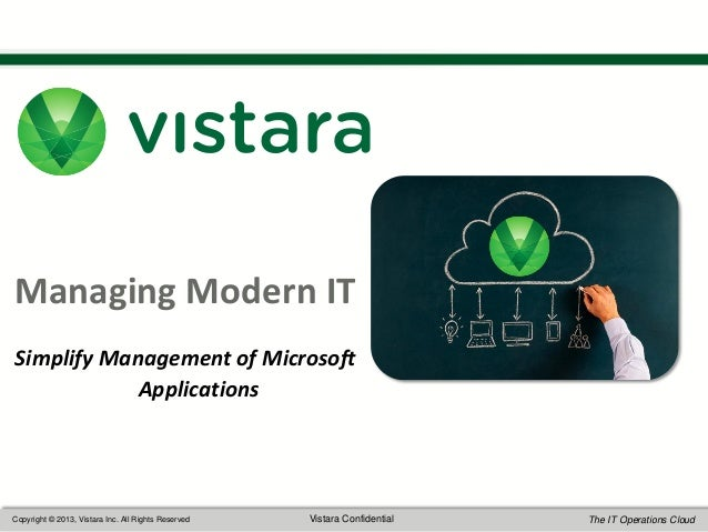 1  Managing Modern IT Simplify Management of Microsoft Applications  Copyright © 2013, Vistara Inc. All Rights Reserved  V...