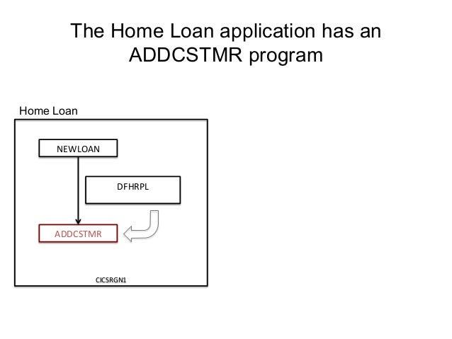 The Home Loan application has an  NEWLOAN  ADDCSTMR  DFHRPL  CICSRGN1  ADDCSTMR program  Home Loan
