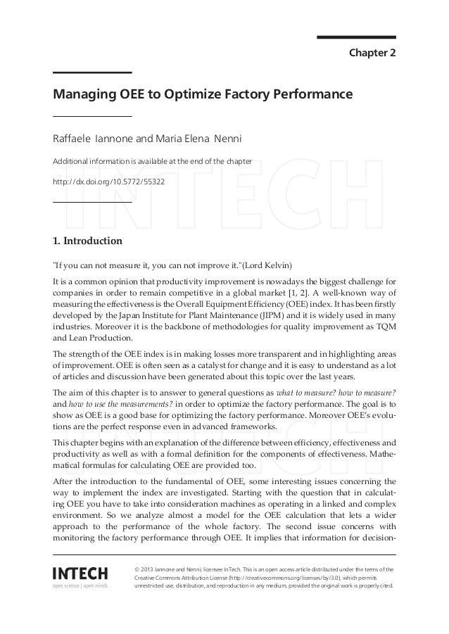 Chapter 2 Managing OEE to Optimize Factory Performance Raffaele Iannone and Maria Elena Nenni Additional information is av...
