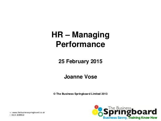 Managing Performance Webinar Slides