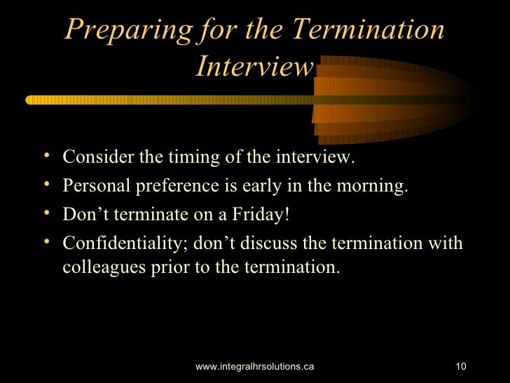 Preparing for employee terminations