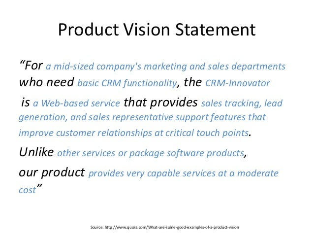 Example Vision Statement Agile Requirements Discovery