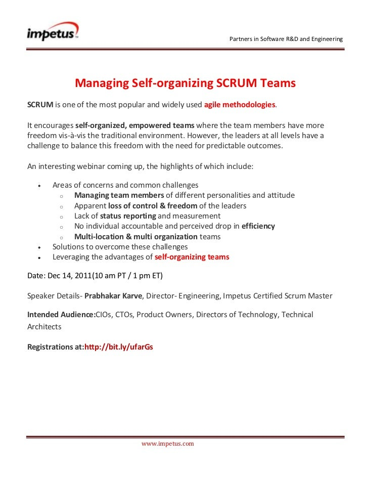 Partners in Software R&D and Engineering              Managing Self-organizing SCRUM TeamsSCRUM is one of the most popular...