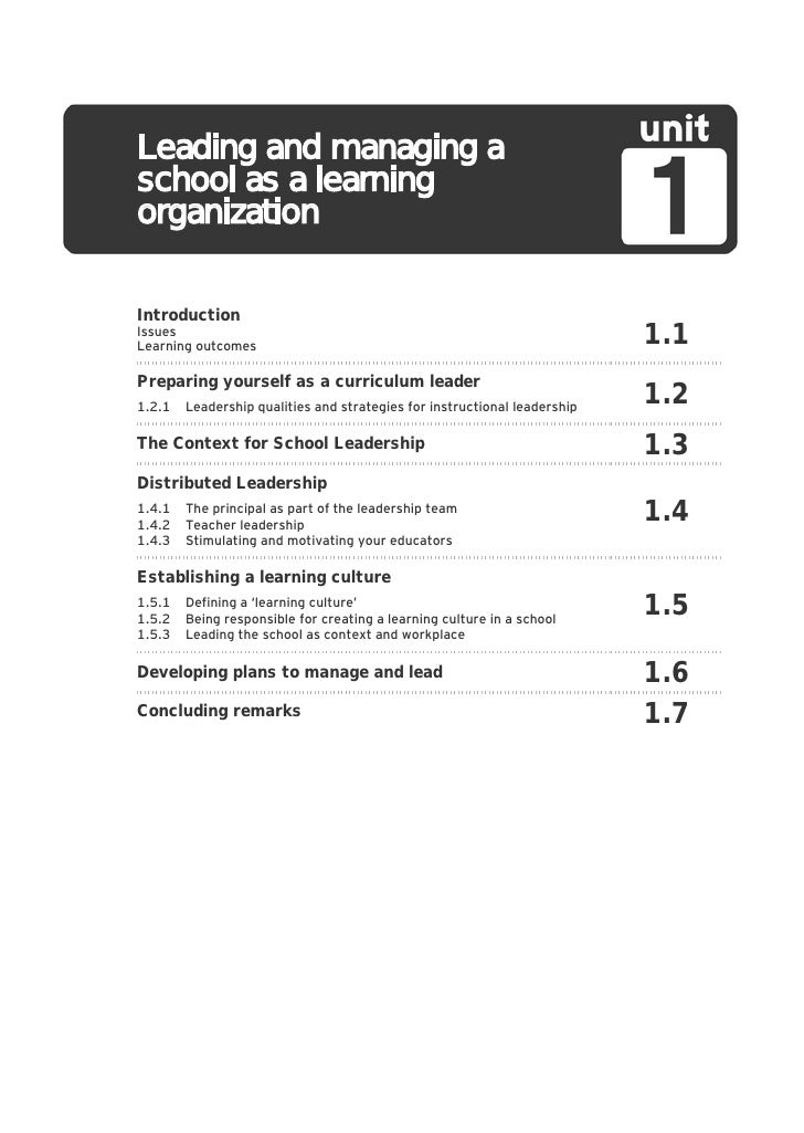Leading and managing a school ...