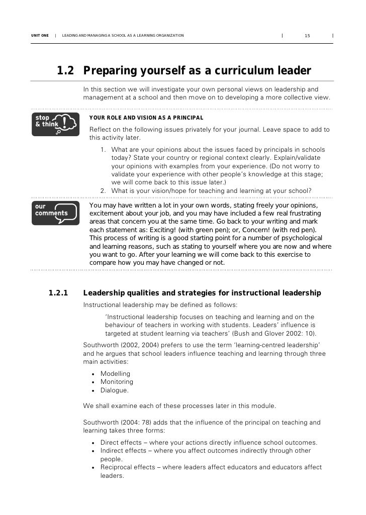 Managing teaching and learning: ACE School Management and Leadership …