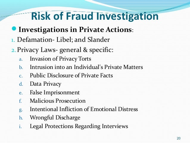Managing the Risk of Fraud Investigation