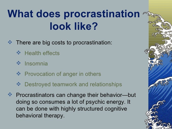 the effects of procrastination on personal discipline and the quality of work Discipline extends to personal life, career,work, study, life style and even social life so it is good to inculcate student discipline in schools this school discipline can help children habituate it and can be carried on for life.