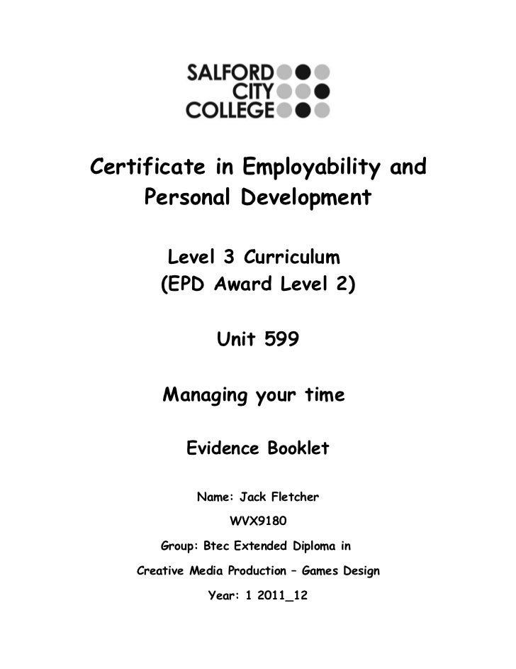 Certificate in Employability and     Personal Development         Level 3 Curriculum        (EPD Award Level 2)           ...