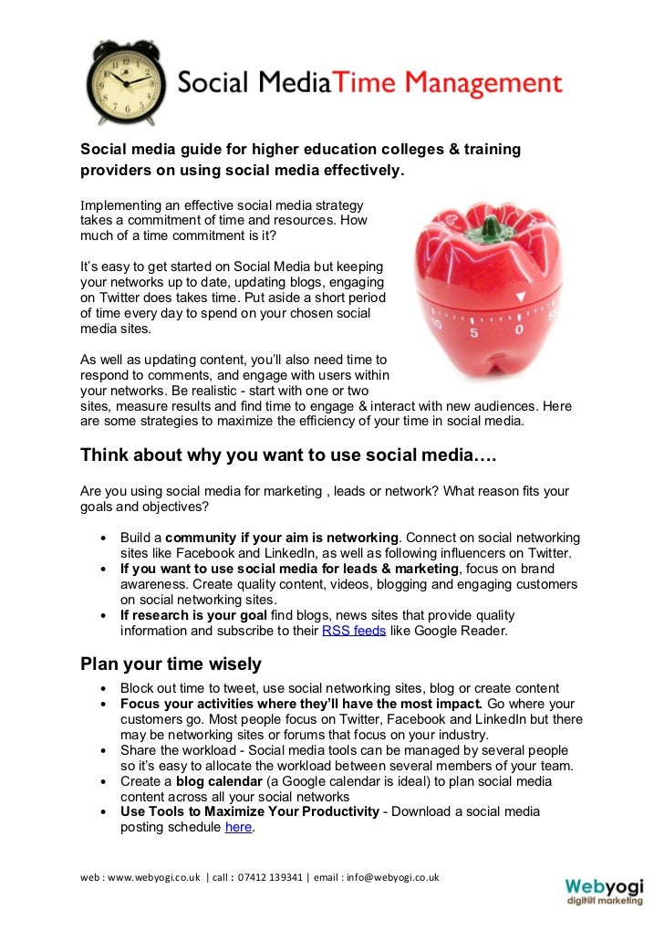 Social media guide for higher education colleges & trainingproviders on using social media effectively.Implementing an eff...